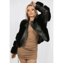 Black Faux Fur PU Leather Fur Arm Zip Up Coat