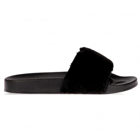 Black Faux Fur Slip On Slider Sandals