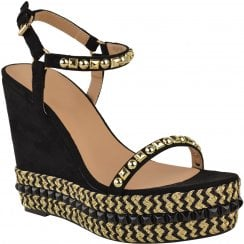 Black Faux Suede Barely There Studded Gold Detail High Wedges