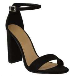 Black Faux Suede Barley There Block High Heel