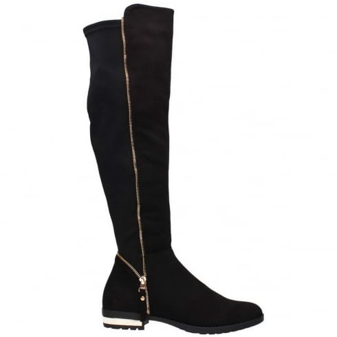 Black Faux Suede Elasticated Back Zip Detail Knee High Flat Boots