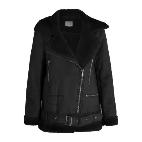 Black Faux Suede Fur Lined shearling Coat