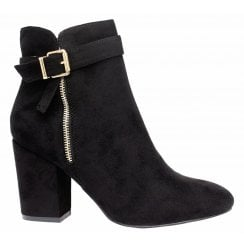 Black Faux Suede Gold Zip And Buckle Mid Block Heel Ankle Boots