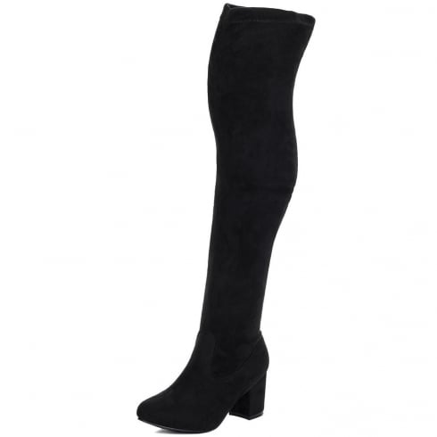 Black Faux Suede Knee High Low Block Heel Boots