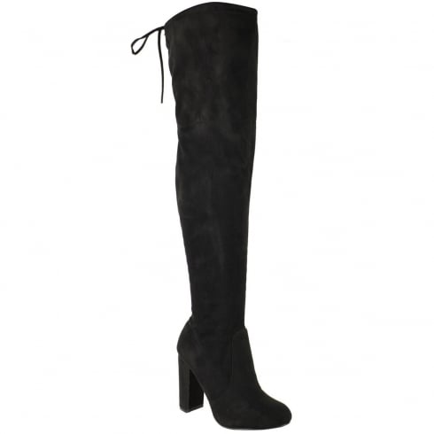 Black Faux Suede Knee High Tie Top Block Heel Boots