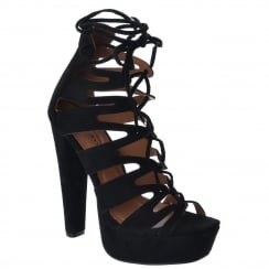 Black Faux Suede Lace Up Cut Out High Block Heels