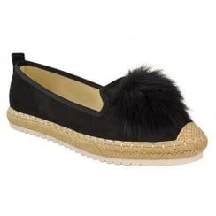 Black Faux Suede Pom Pom Casual Shoes