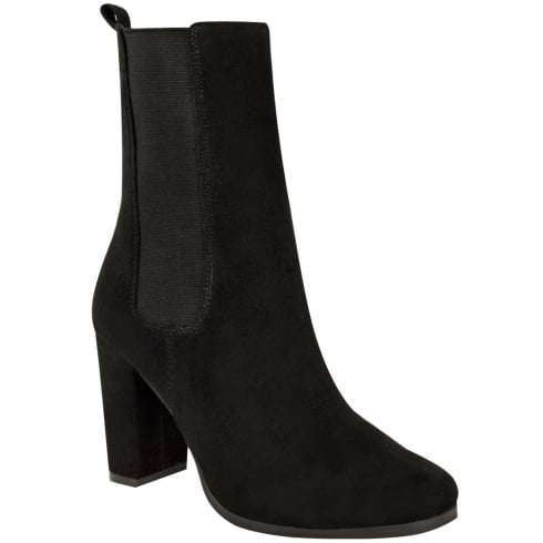 Black Faux Suede Side Elasticated Block High Heel Ankle Boots