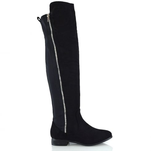 Black Faux Suede Side False Gold Zip Knee High Boots