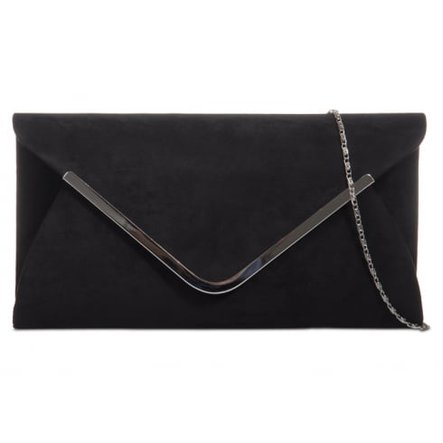 Black Faux Suede Silver Trim Clutchbag