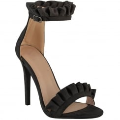 Black Faux Suede Stiletto Ruffle Ankle Barely There High Heels
