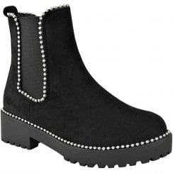 Black Faux Suede Studded Chunky Cleated Sole Chelsea Ankle Boots
