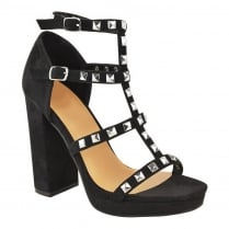 Black Faux Suede Studded Strappy Block High Heel Platform Sandals