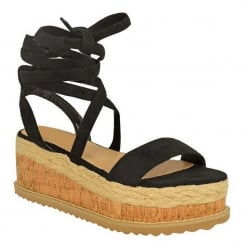 Black Faux Suede Tie Up Lace Wedge Sandals