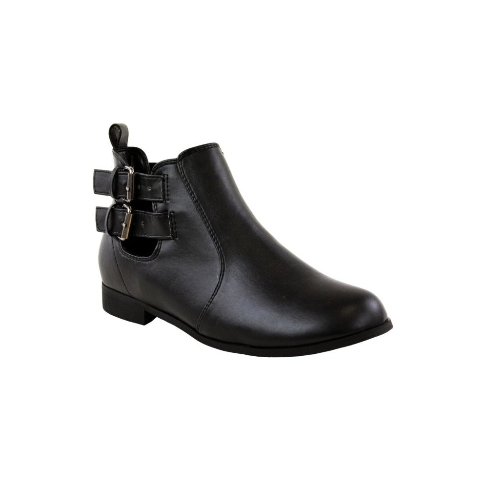 black flat buckle ankle boots