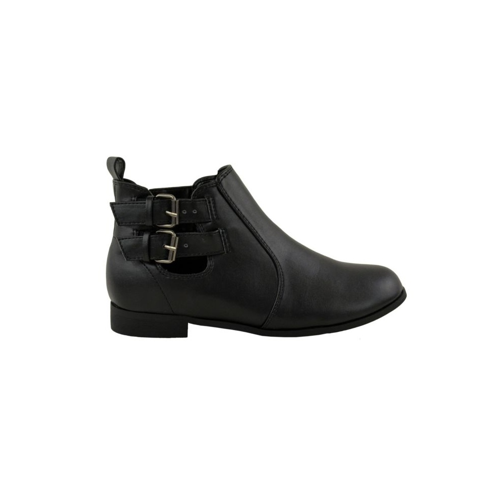 black flat double buckle ankle boots