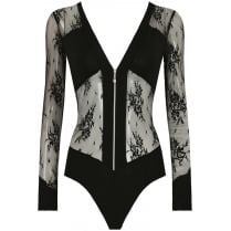 Black Floral Mesh Open Back Zip Up Bodysuit