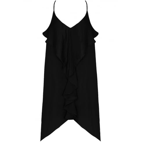 Black Front Ruffle Open Slit Back Shift Dress