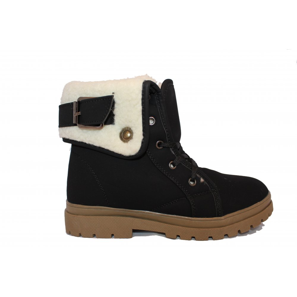 black fur trim worker ankle boots from parisia