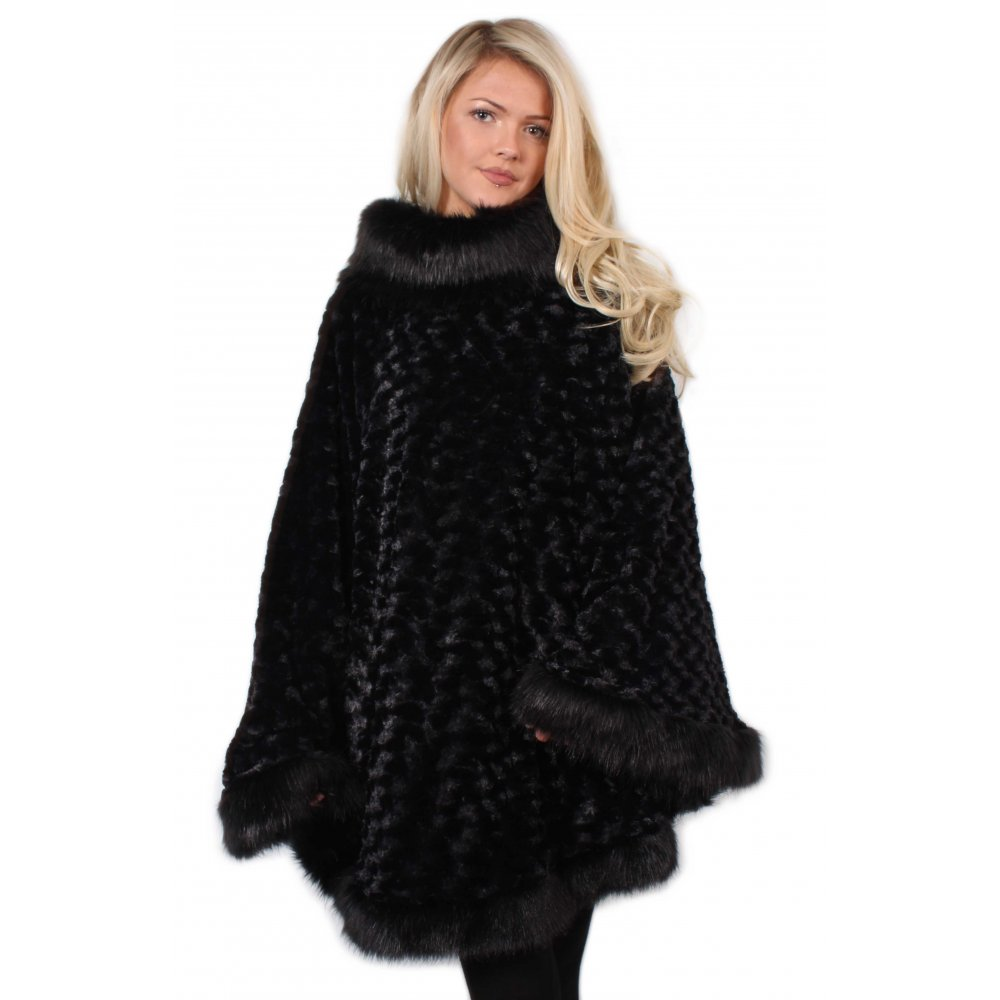 Black Fur Turtle Neck Poncho with Fur Trim From Parisia