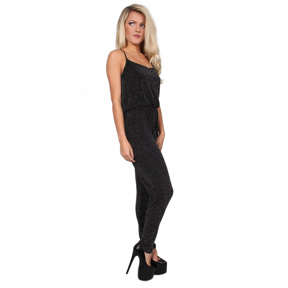 Black Glitter All-In-One Jumpsuit From Parisia