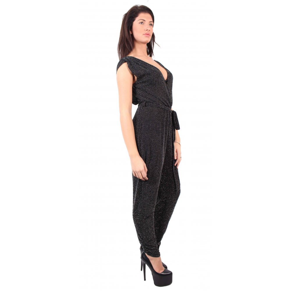 Black Glitter Jumpsuit - Parisia Fashion