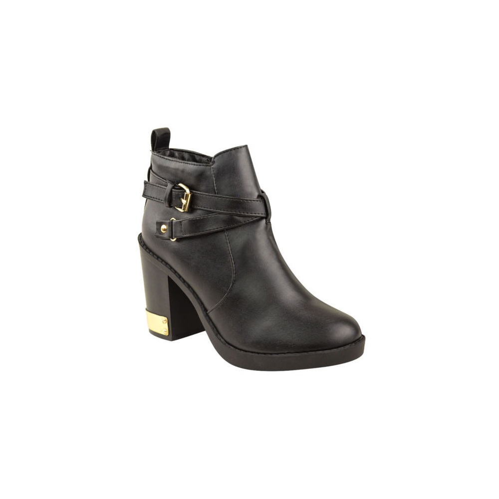 1e096a385700 Black Heel Ankle Boot With Gold Buckle From Parisia