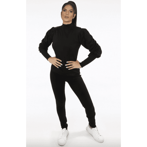 Black High Neck Ruched Sleeve Knitted Loungewear Set