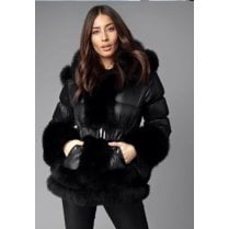 Black Hooded Faux fur Trim Hem And Cuff Waist Belted Coat