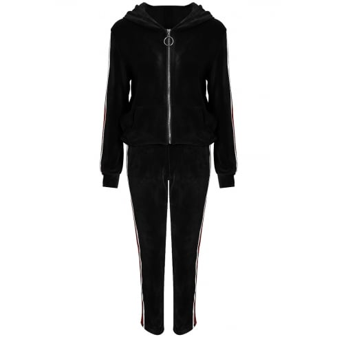 Black Hooded Jacket And Jogger Trousers Striped Tracksuit