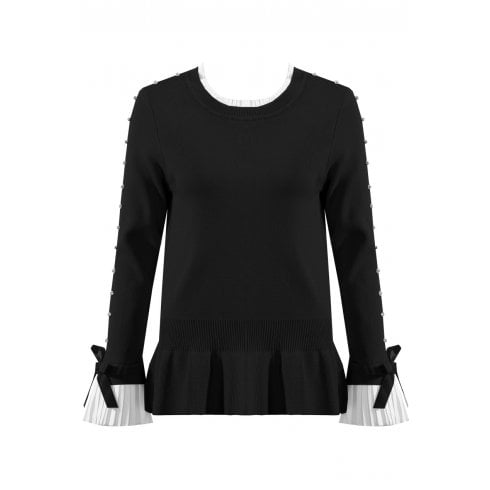 Black Jumper With Diamante Sleeve And Shirt Cuff And Neckline