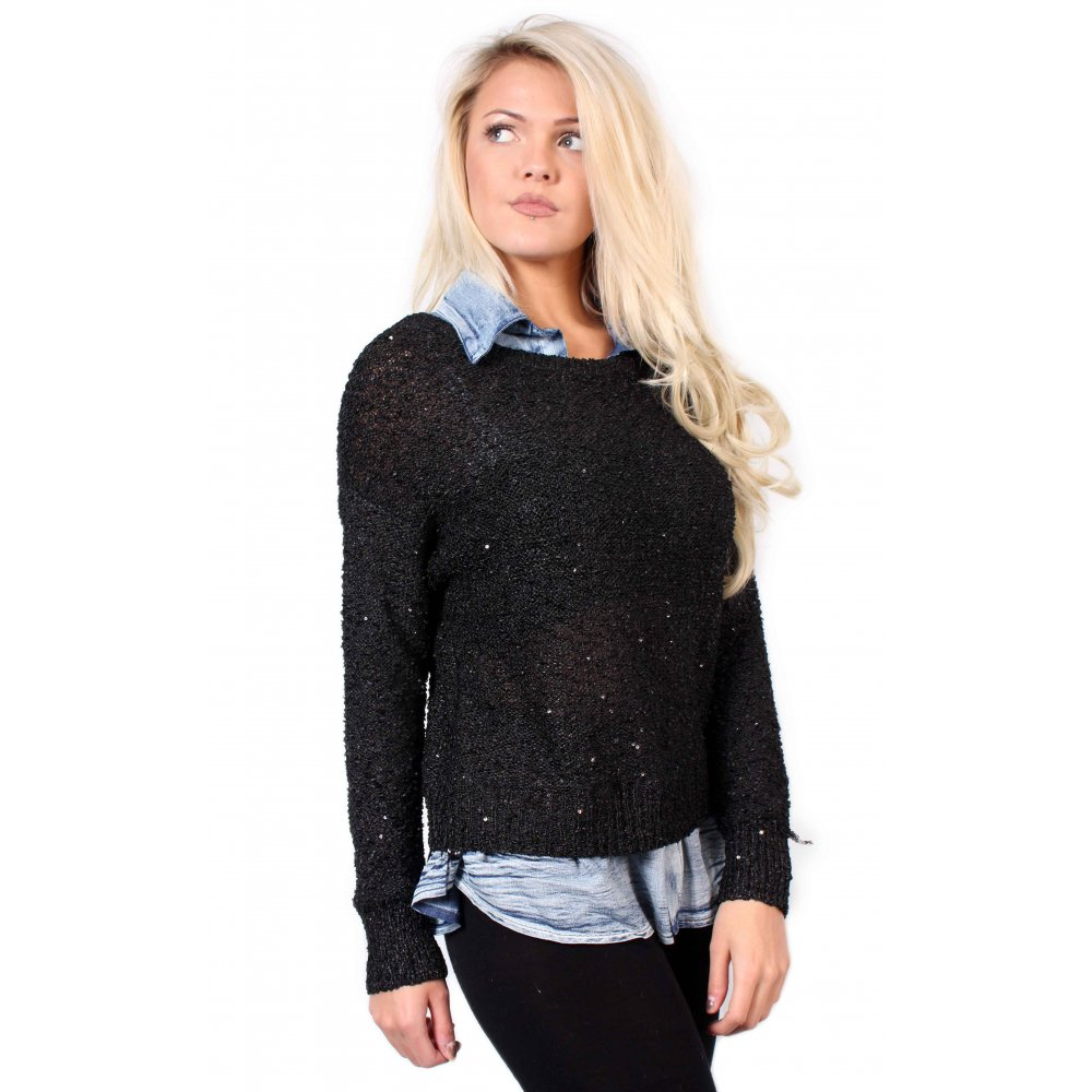 Black Knitted Jumper With Denim Collar From Parisia 6bf158a3a549