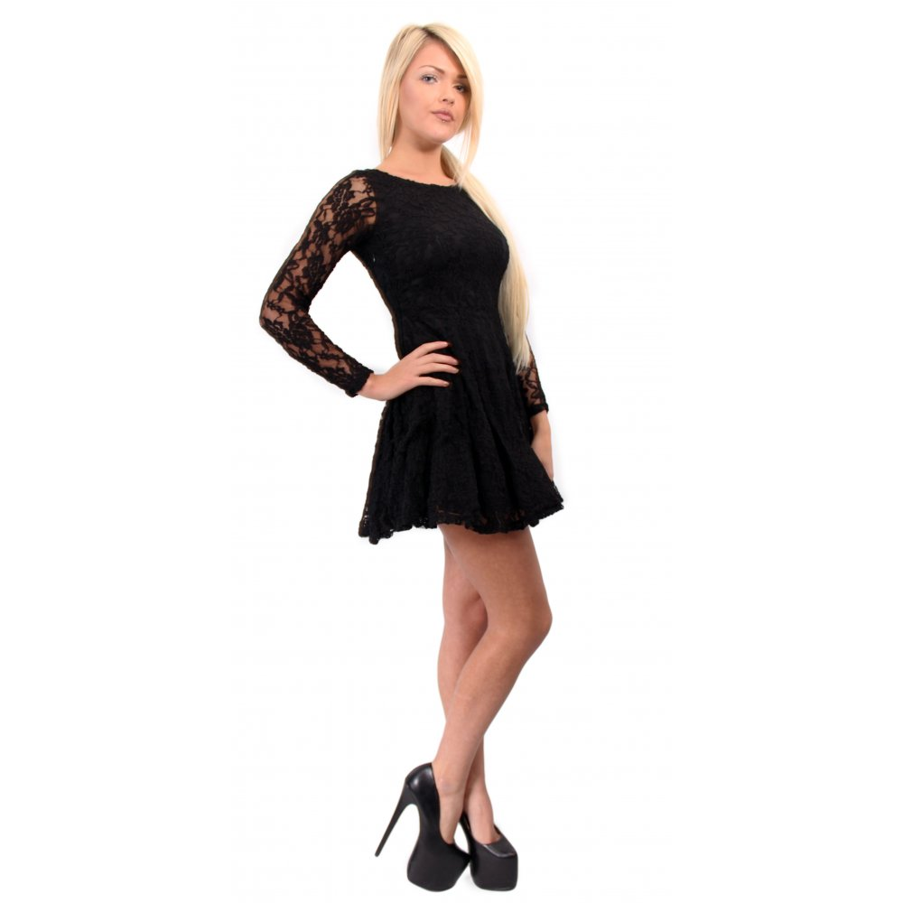 lack Lace Long Sleeve Skater Dress From Parisia