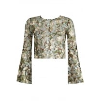 Black Lace Mesh With Cream Floral Embroidery Wide Sleeve Top