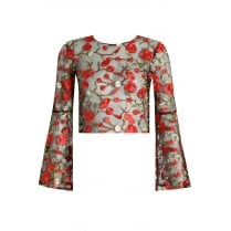 Black Lace Mesh With Red Floral Embroidery Wide Sleeve Top