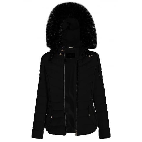 Black Layered Quilted Puffer Jacket With Black Faux Fur Trim Hood