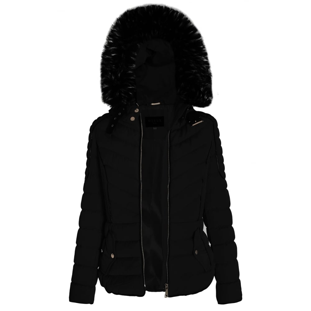4eb73f17d Black Layered Quilted Puffer Jacket With Black Faux Fur Trim Hood