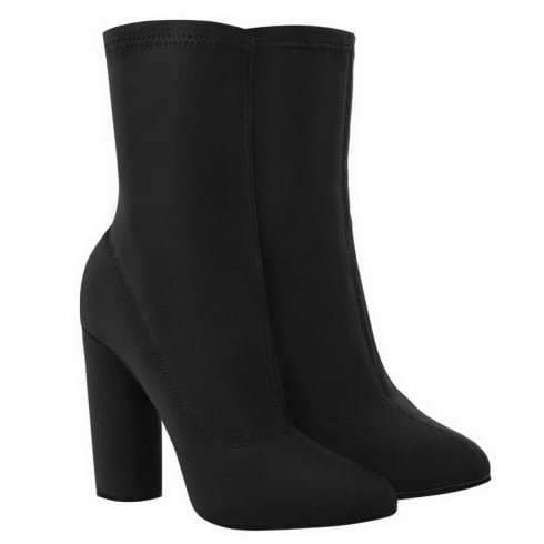 Black Lycra Pointed High Cylinder Heel Ankle Boots