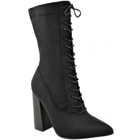 Black Lycra Pointed Toes Lace Up Front Block High Heel Ankle Boots