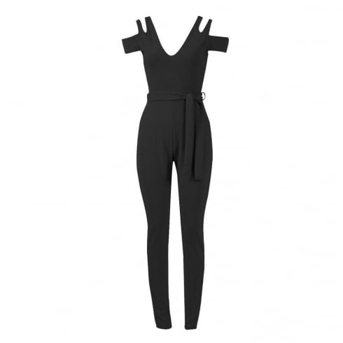 Black Open Shoulder Waist Belt Fitted Jumpsuit