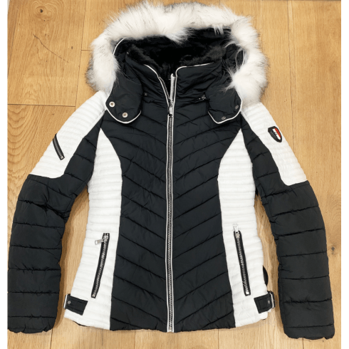 Black Padded Puffer With White Panl Sides And White Faux Fur Hood Jacket Coat