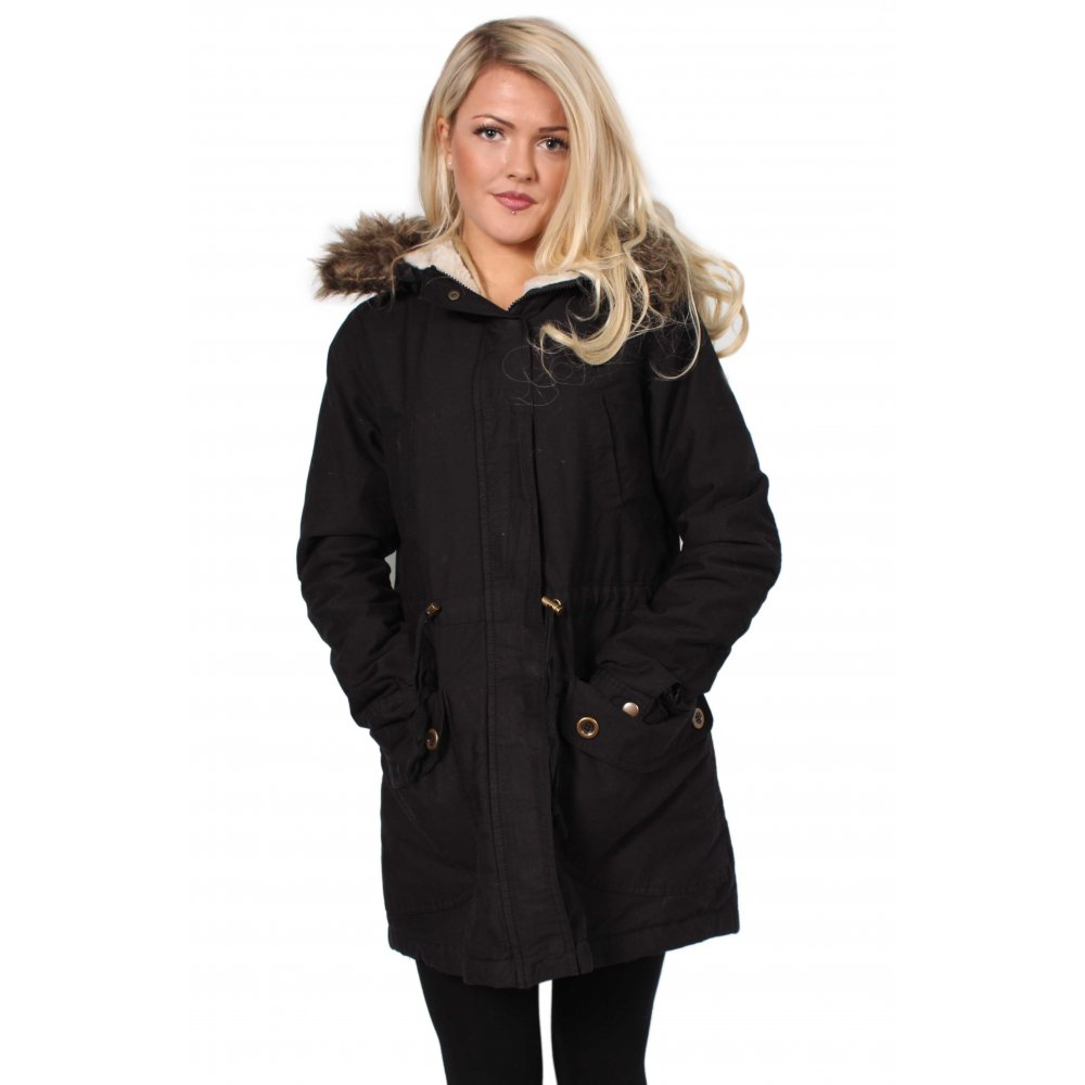 Black Parka Coat With Fur Trimmed Hood From Parisia