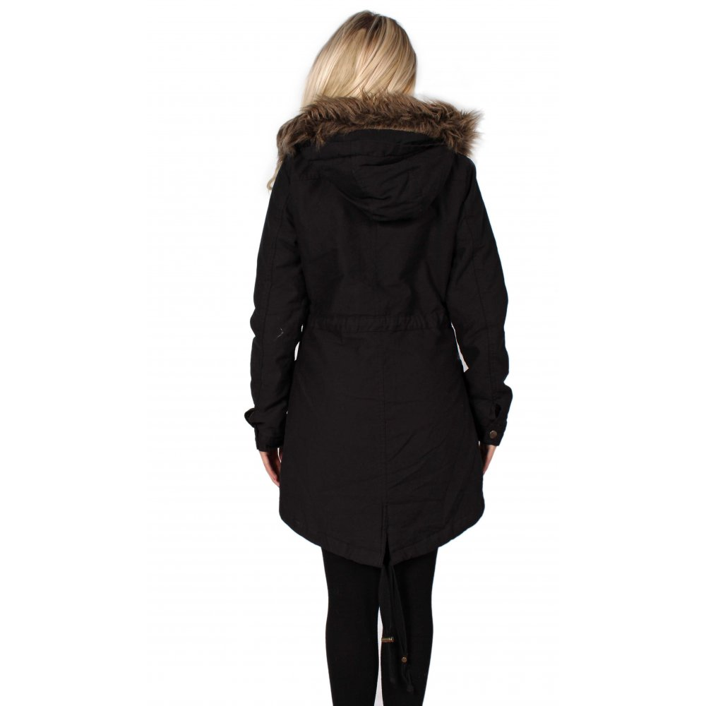 2f99cd9c3a5 Black Parka Coat With Fur Trimmed Hood From Parisia