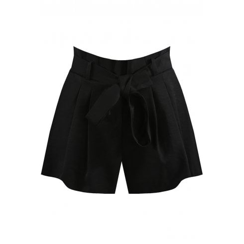 Black Pleated Attached Waist Belt Shorts