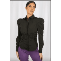 Black Pleated Shoulder Ruched Waist Fitted Collared Long Sleeve Shirt