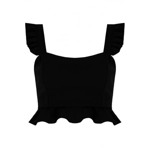Black Pleated Strap Side Zip Crop Top