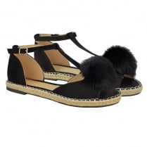 Black Pom Pom Cut Out Open Toe Sandals