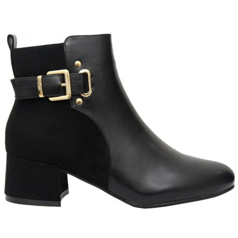 Black Pu And Faux Suede Side Zip Fastening Buckle Side Heel Ankle Boots