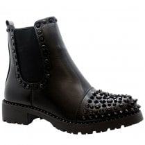 Black PU Black Spiked And Studded Side Zip Cleated Sole Chelsea Ankle Boots