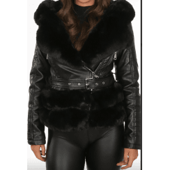 Black PU Leather Coat With Black Faux Fur Hem Collar Buckle Belt